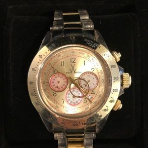 Ladies TOY watch- gold and pink chronograph